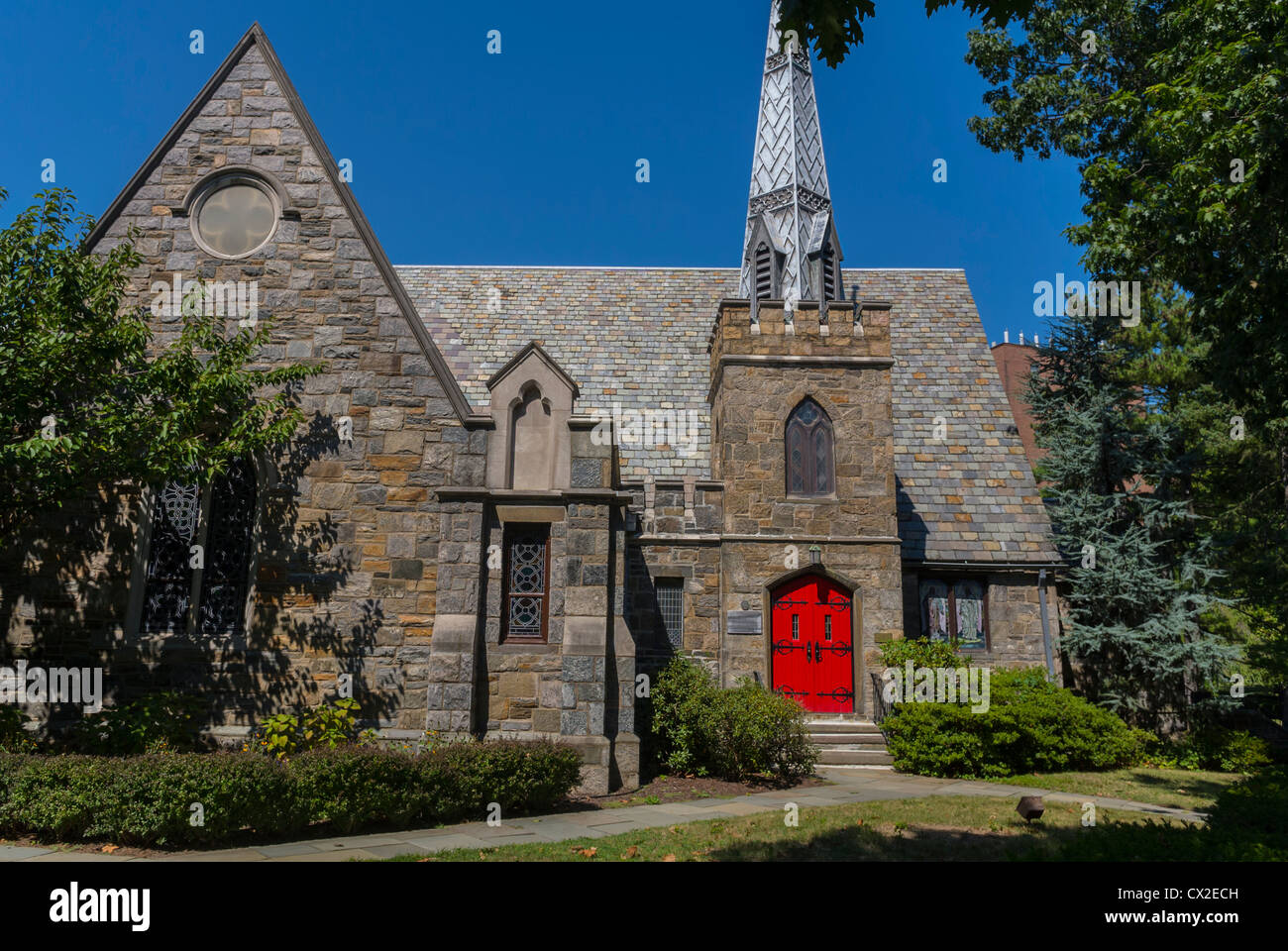 Bronx, New York, NY, USA, Fieldston Historic District, 'Riverdale Presbyterian Church', Front Door, Entrance, - Stock Image
