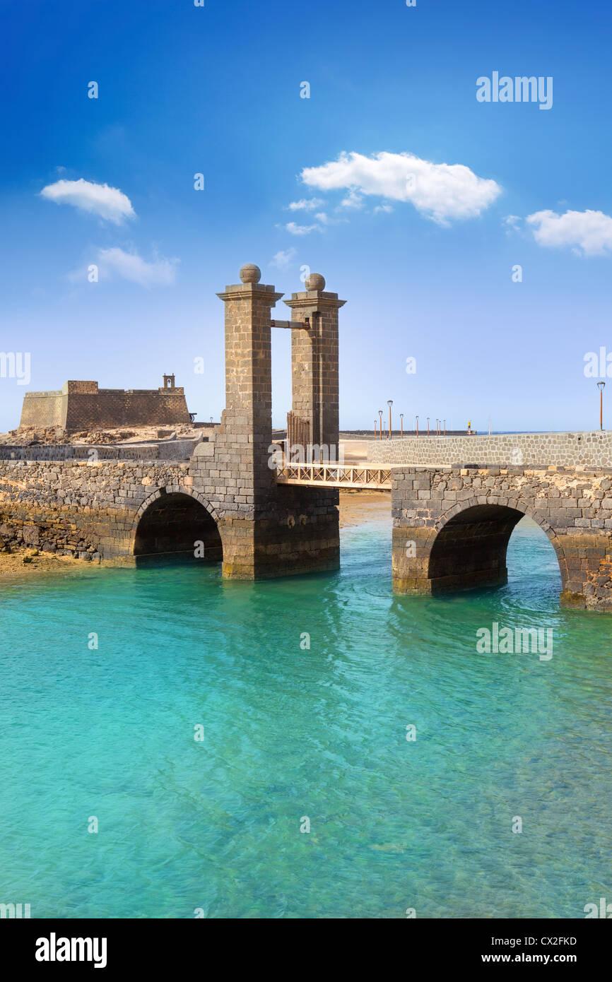 Arrecife Lanzarote Castillo San Gabriel castle and Puente de las Bolas bridge Stock Photo