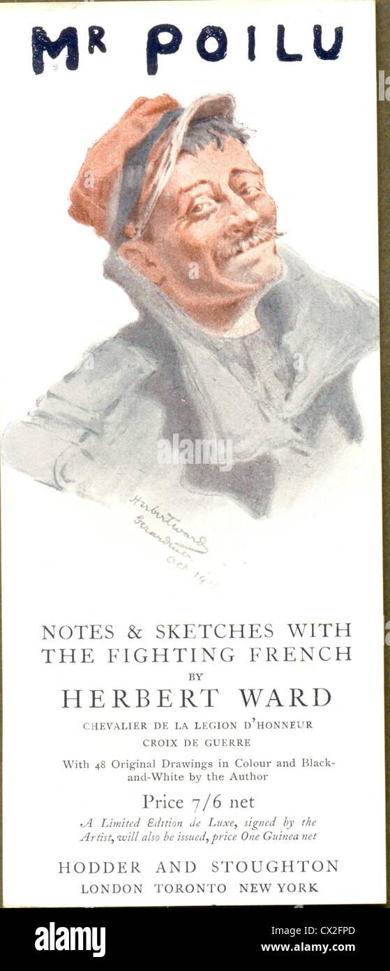 Bookmark advertising Mr Poilu by Herbert Ward Stock Photo