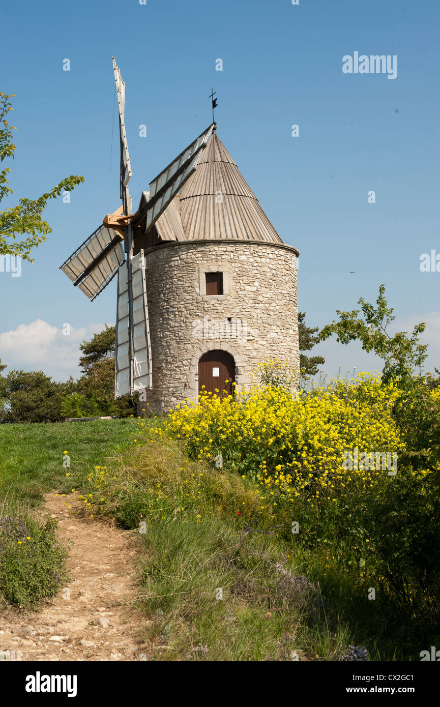 Ancient windmill and flowers in the Luberon region of Provence, France - Stock Image