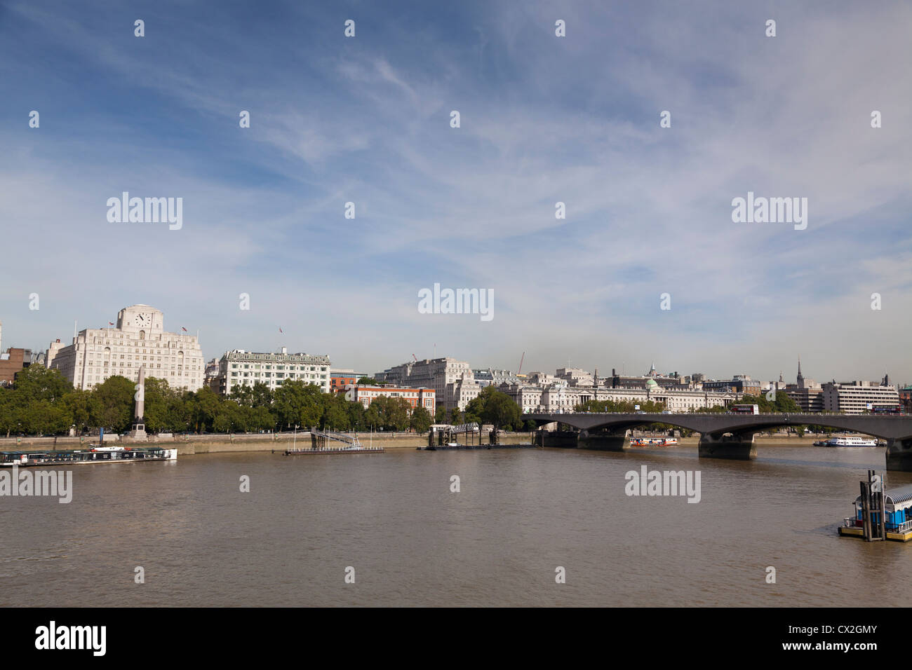 Shell Mex House and Waterloo Bridge panorama over the Thames Stock Photo