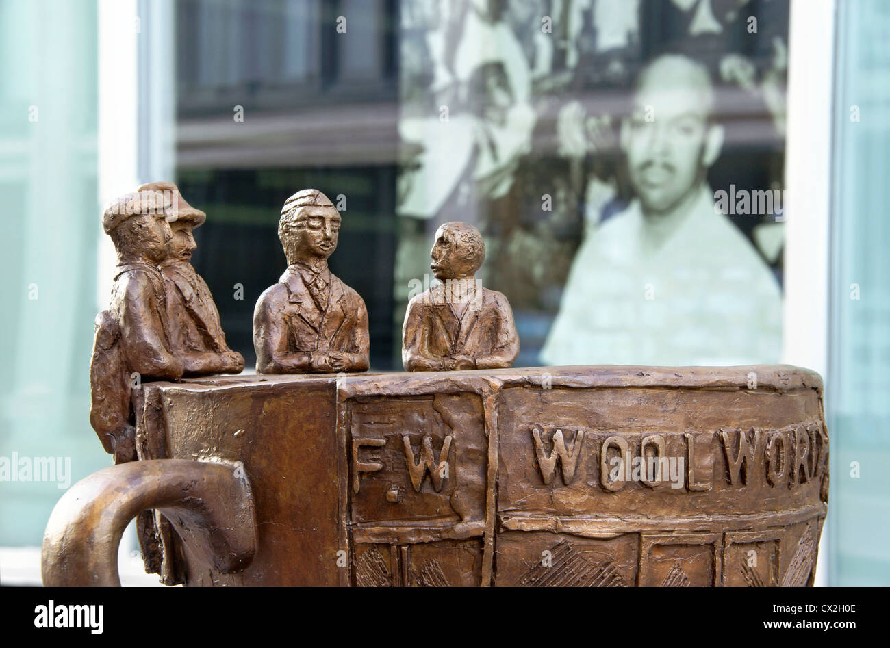 The Cup of Freedom statue of the Woolworth lunch counter sit-in, Greensboro, NC, North Carolina. - Stock Image