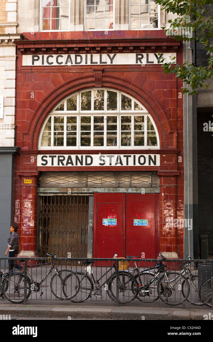 Front to the disused Strand Underground station on the Piccadilly Line in the Strand. - Stock Image