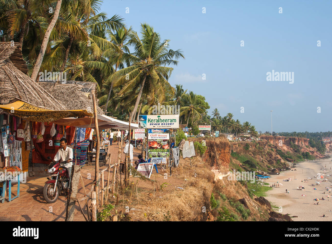 Varkala cliff, Beach Resorts, Shops, India Kerala - Stock Image