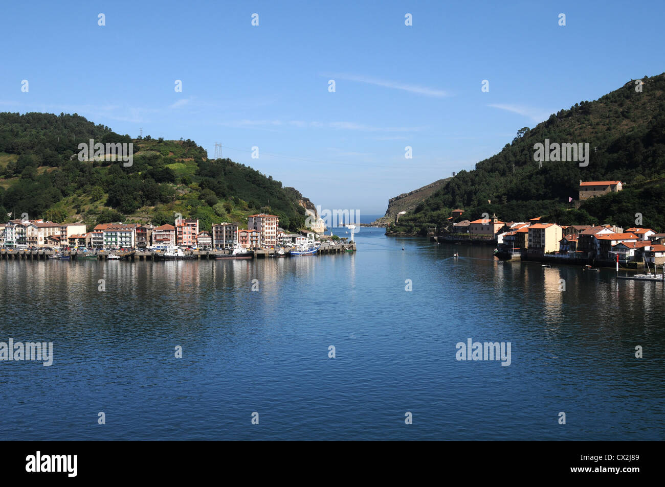 Buildings by the entrance to the harbour at Pasajes, Northern Spain in the heart of the Basque Country - Stock Image