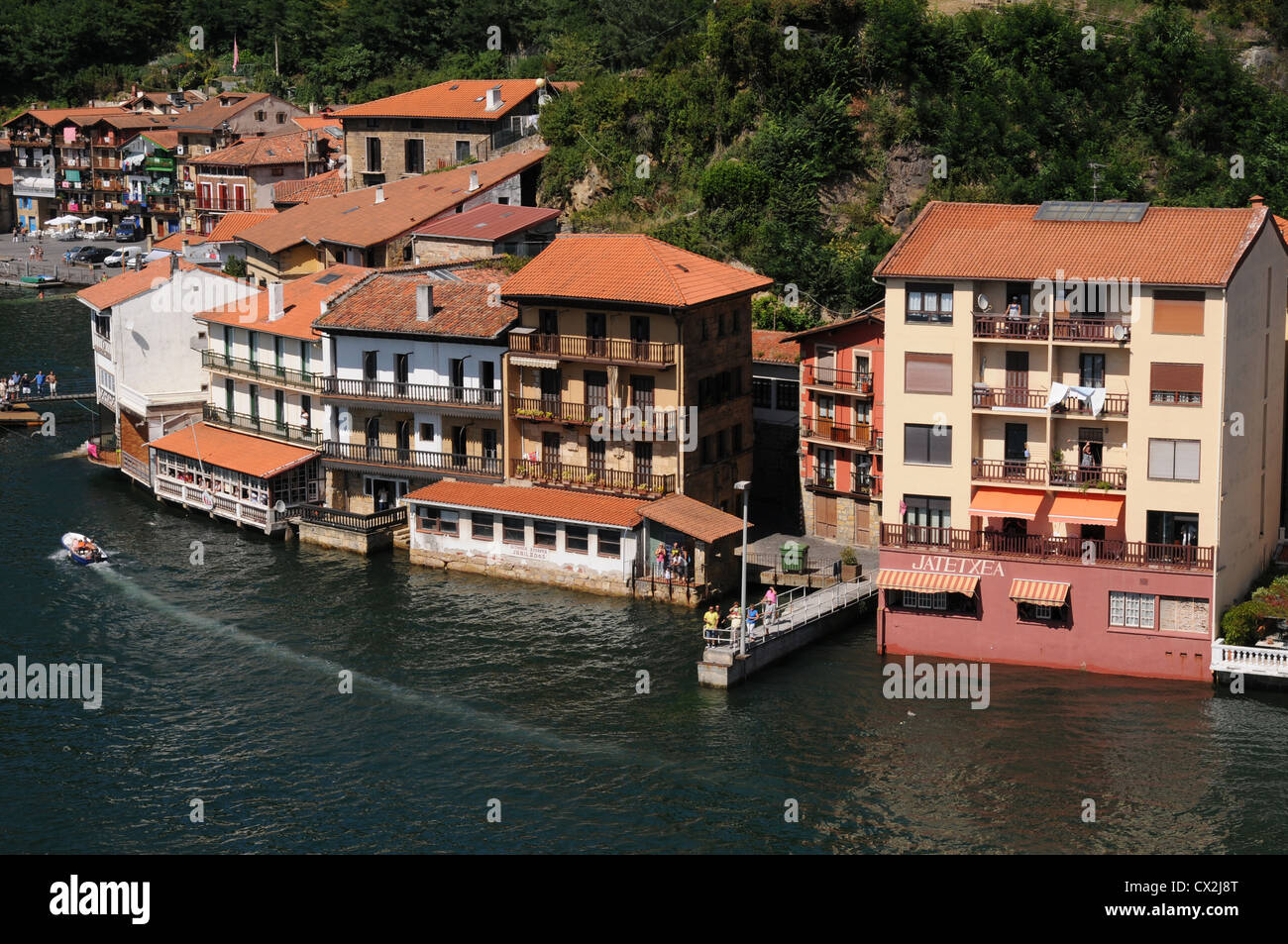 Buildings by the waterfront in the north Spanish port of Pasajes near San Sebastian - Stock Image