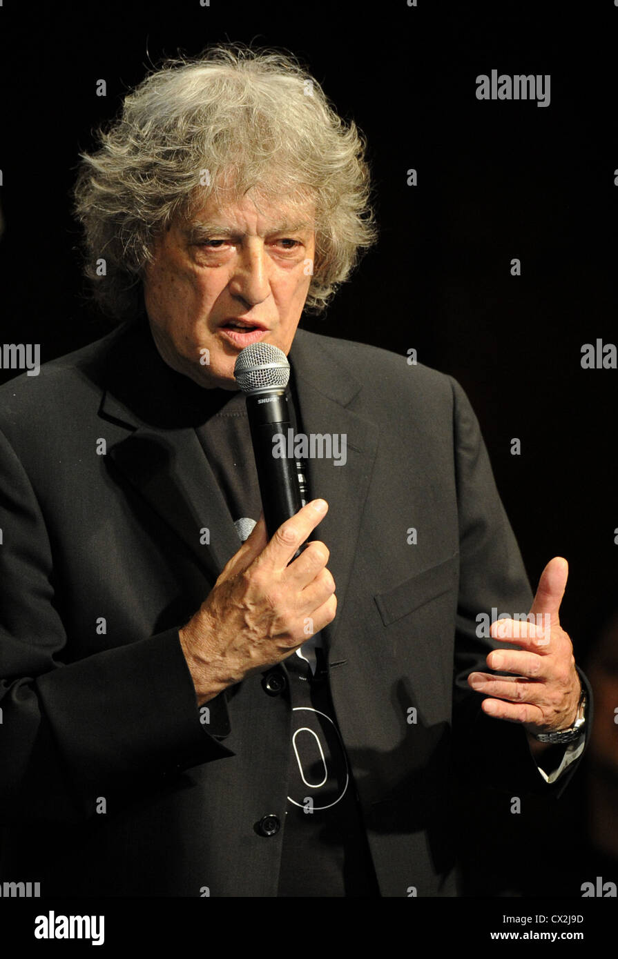 ITAR-TASS: MOSCOW, RUSSIA. SEPTEMBER 23, 2011. British playwright Sir Tom Stoppard performs the benefit concert Stock Photo