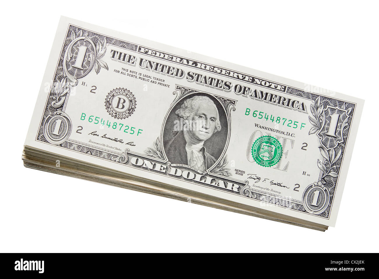 Stack of US One Dollar Bills Banknotes Isolated on White Background - Stock Image