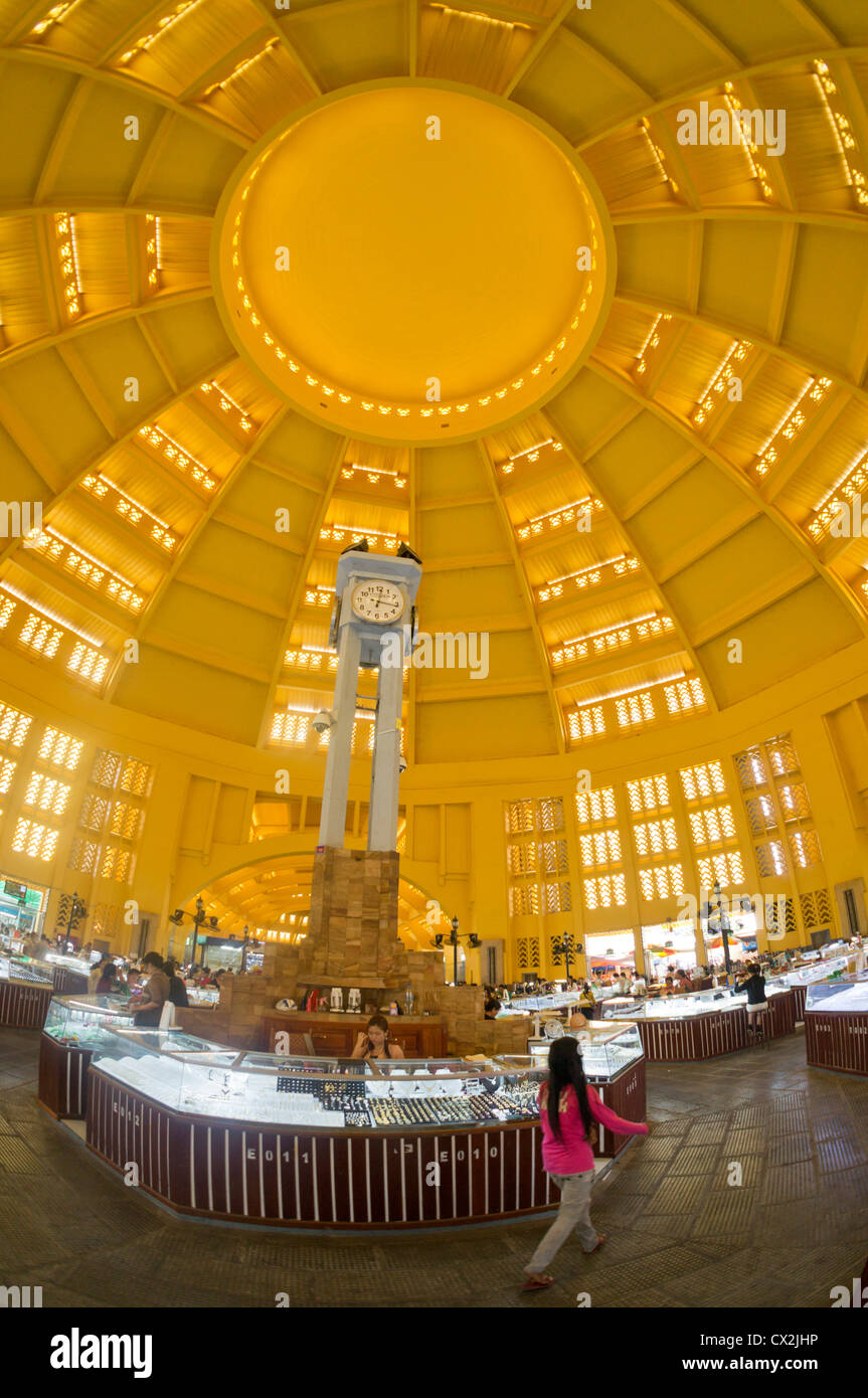 Central Market Dome constructed 1937, Phnom Penh , Cambodia - Stock Image