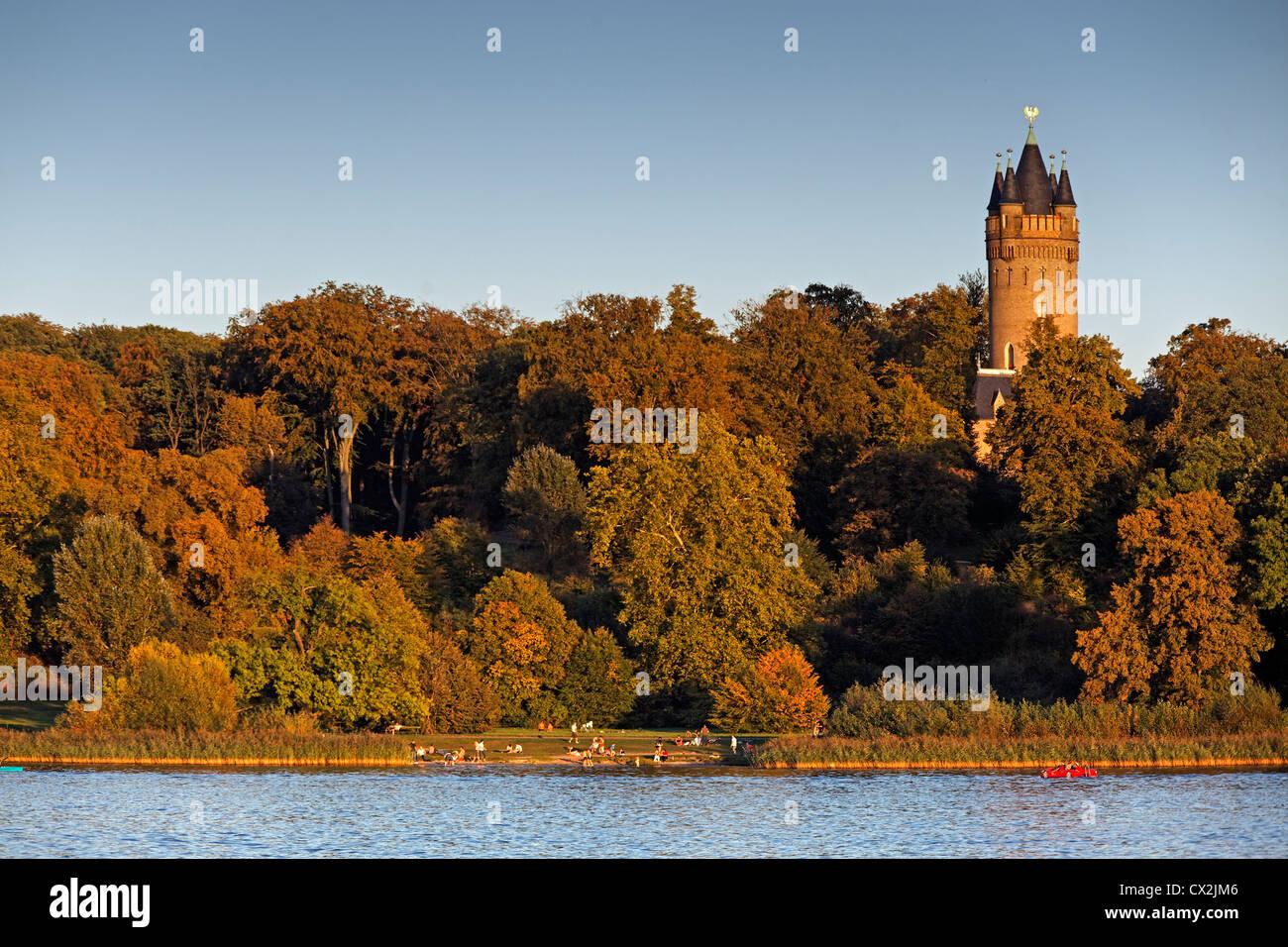 Flatow Tower in Park Babelsberg, Potsdam, Brandenburg, Germany - Stock Image
