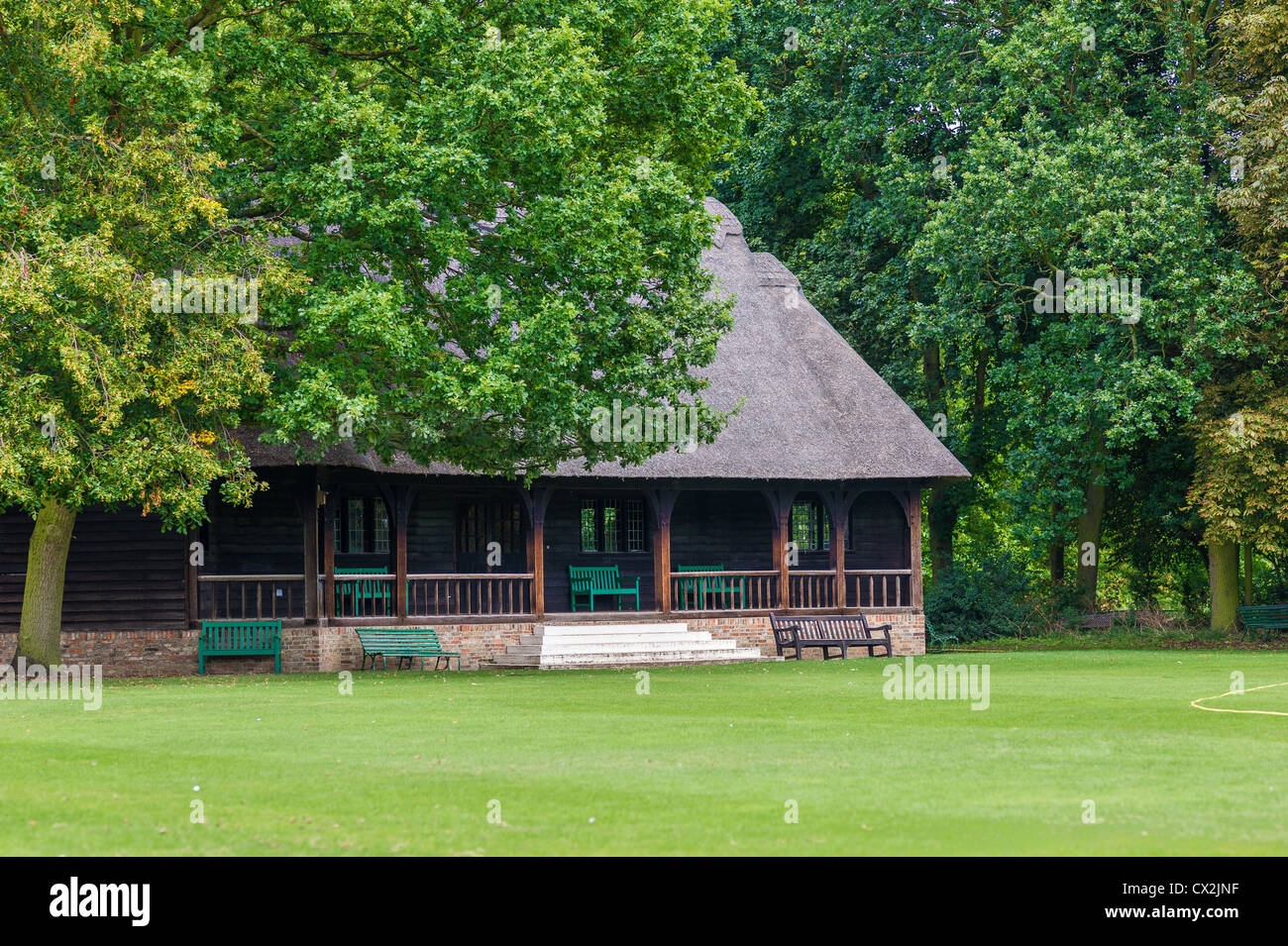 Cricket pavilion at Jesus college, university of Cambridge, England, UK. - Stock Image