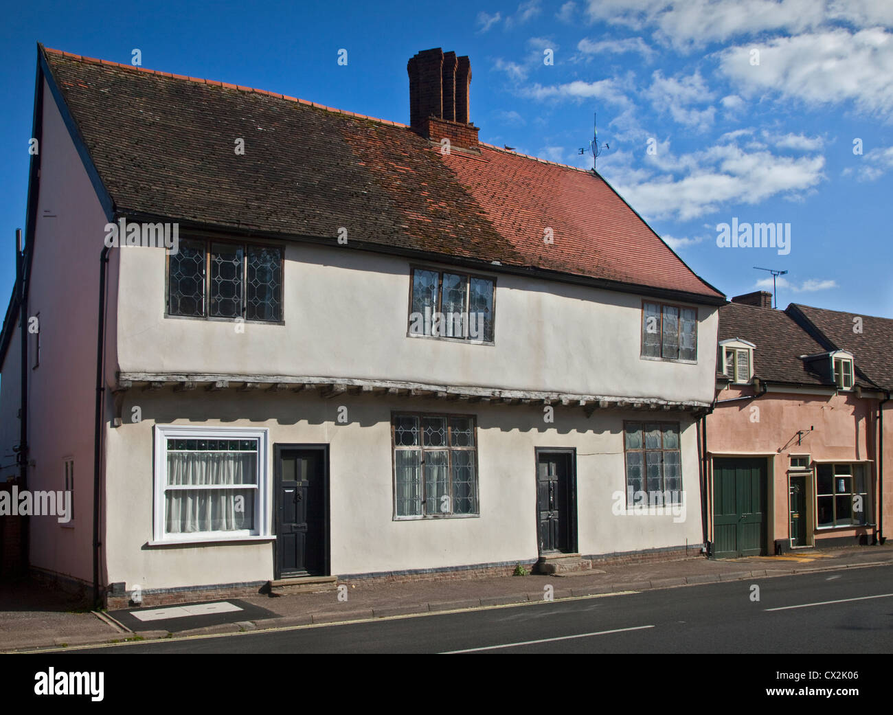 Street in the Village of Ixworth, Suffolk, England - Stock Image