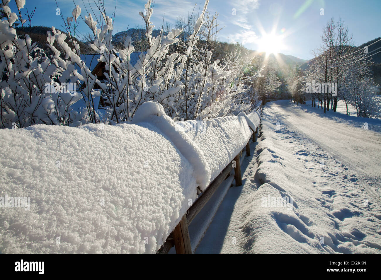 Winter landscape on the outskirts of the city - Stock Image