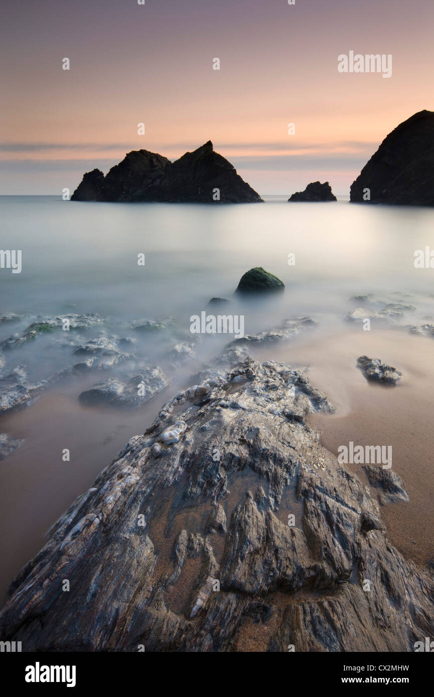 Twilight at Soar Mill Cove in South Hams, Devon, England. Autumn (September) 2010. - Stock Image