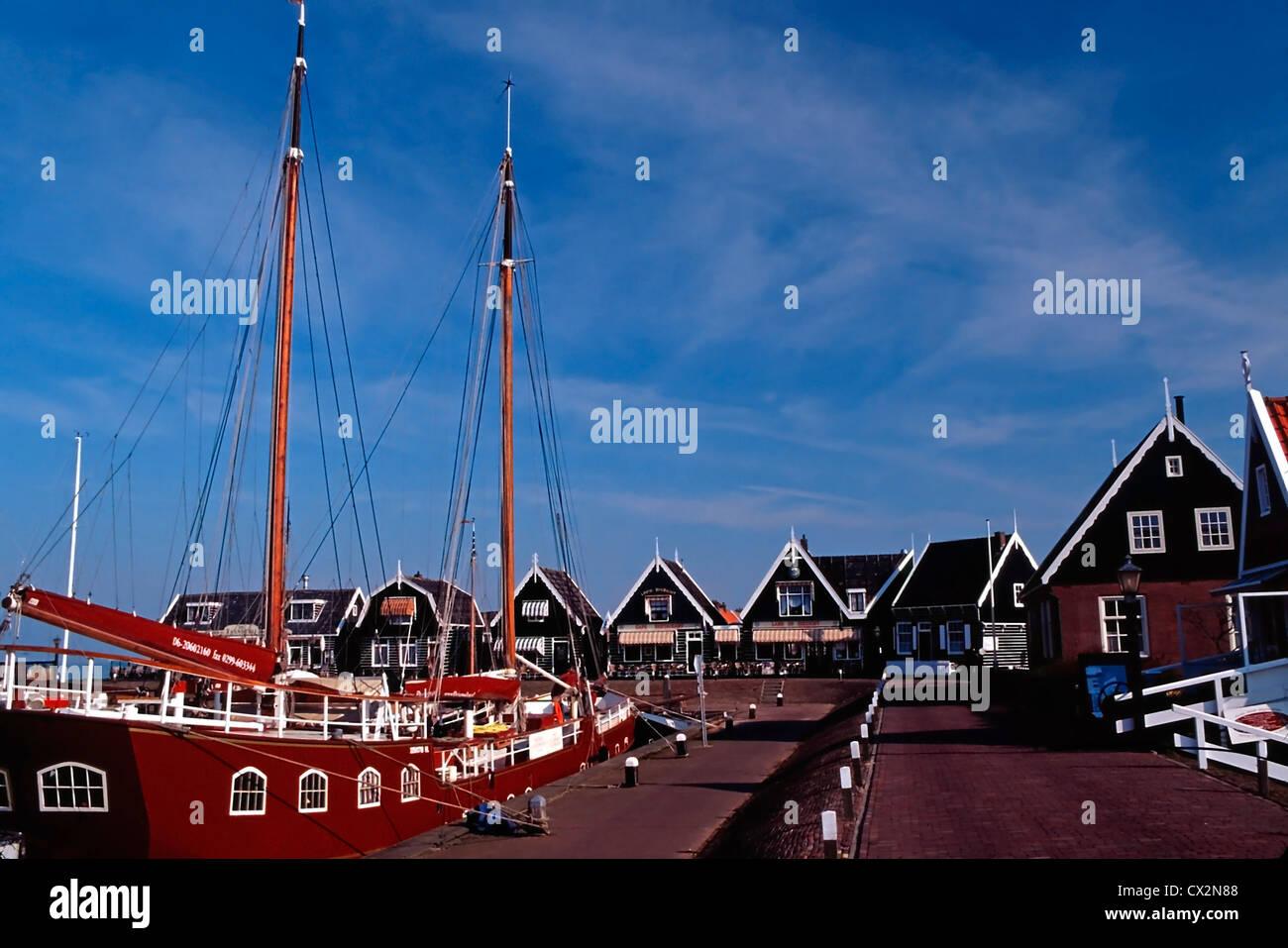 A Dutch schooner in the harbor of Marker, Netherlands Stock Photo
