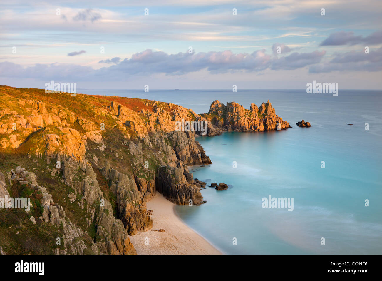 Pednvounder Beach from Treen Cliff, looking towards Logan Rock, Porthcurno, Cornwall, England. Autumn (October) - Stock Image