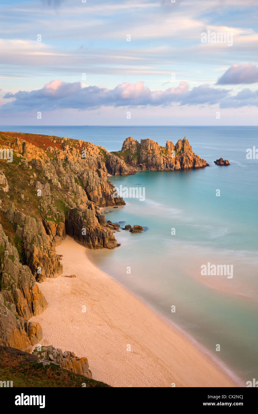 Pednvounder Beach and Logan Rock from Treen Cliff, Treen, Porthcurno, Cornwall, England. Autumn (October) 2010. - Stock Image