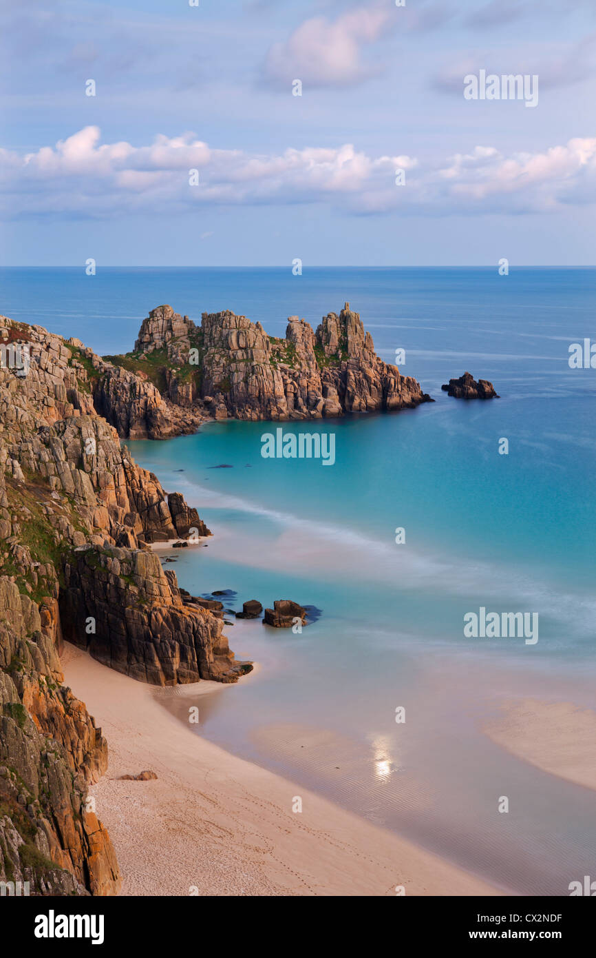 Pednvounder Beach and Logan Rock from the clifftops near Treen, Porthcurno, Cornwall, England. Autumn (October) - Stock Image