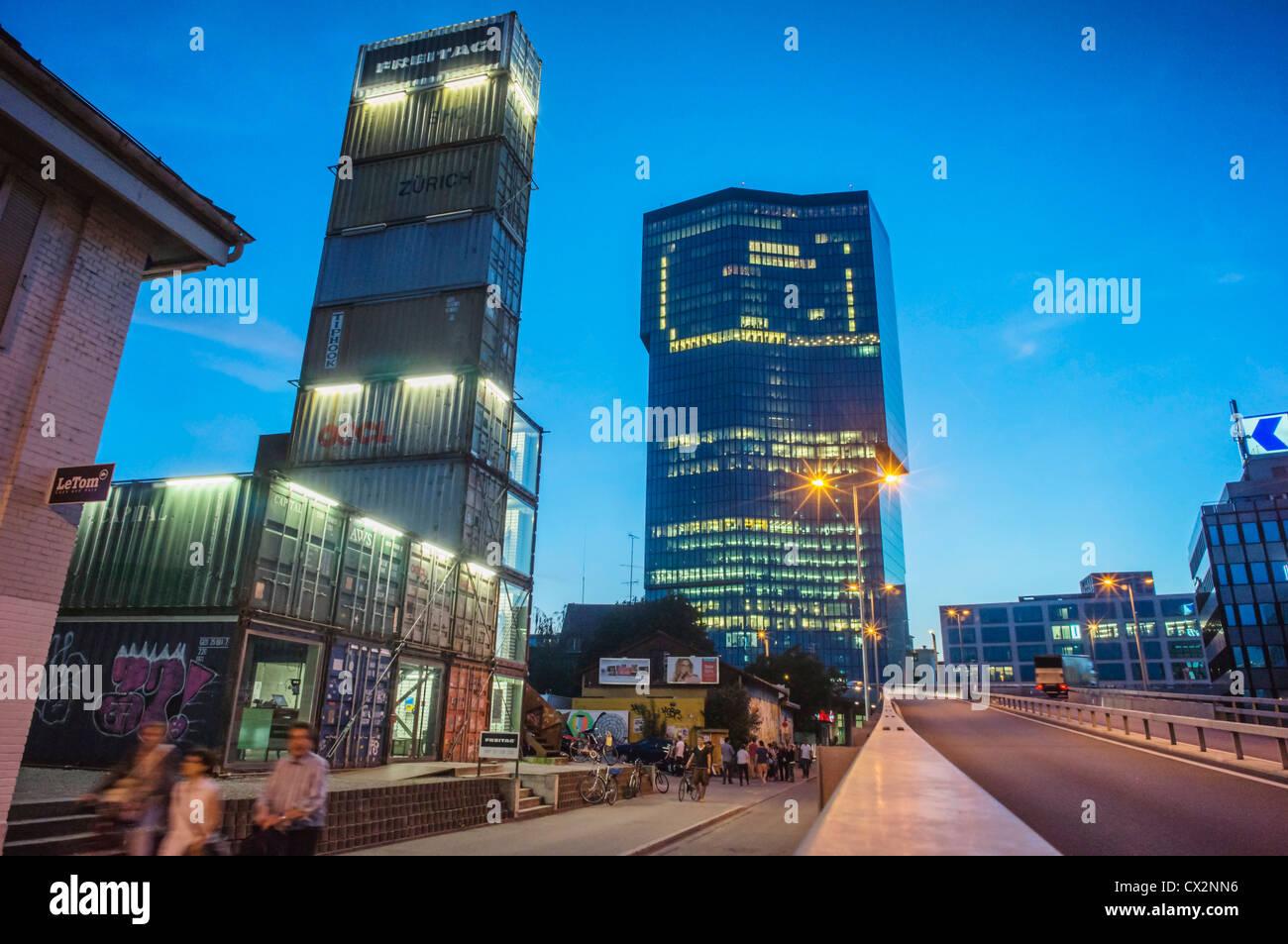 Freitag concept store, Prime tower, Kreis 5, Zurich,  - Stock Image