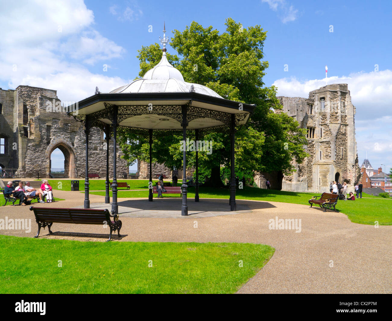 Newark Castle grounds and bandstand, Newark, Nottinghamshire - Stock Image