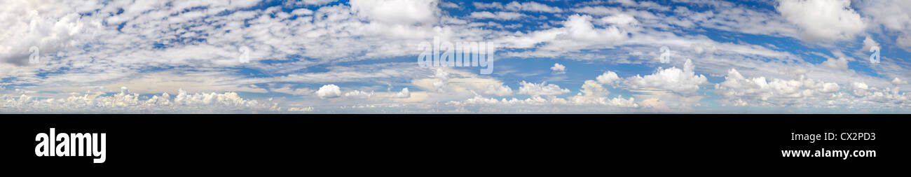 High resolution super panorama of various cloud formations in the sky - Stock Image