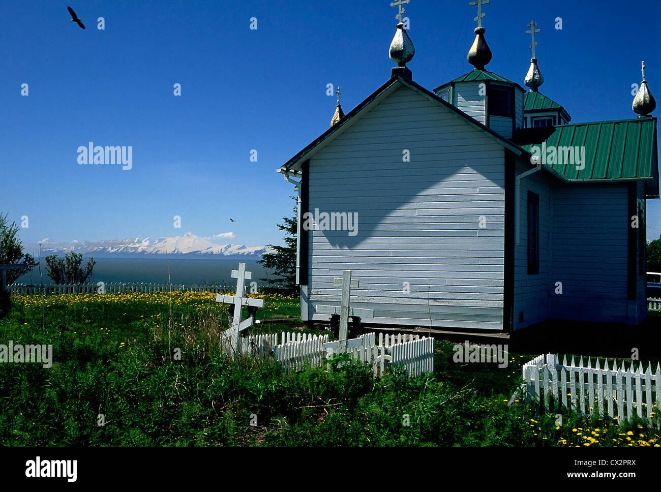 The Holy Transfiguration of Our Lady Chapel, Ninilchik, Alaska - Stock Image