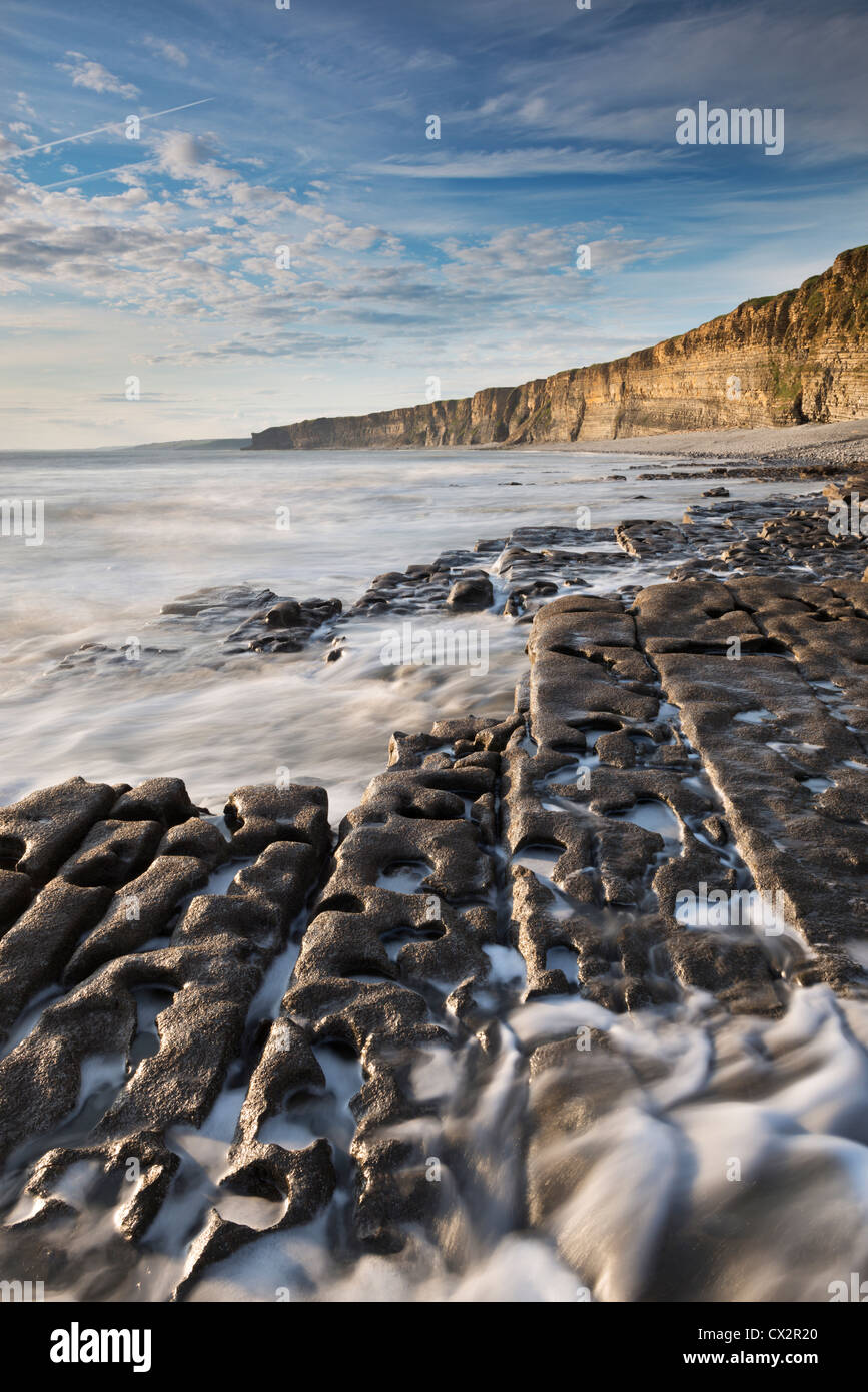 Nash Point on the Glamorgan Heritage Coast, South Wales, Britain. Summer (August) 2012. - Stock Image