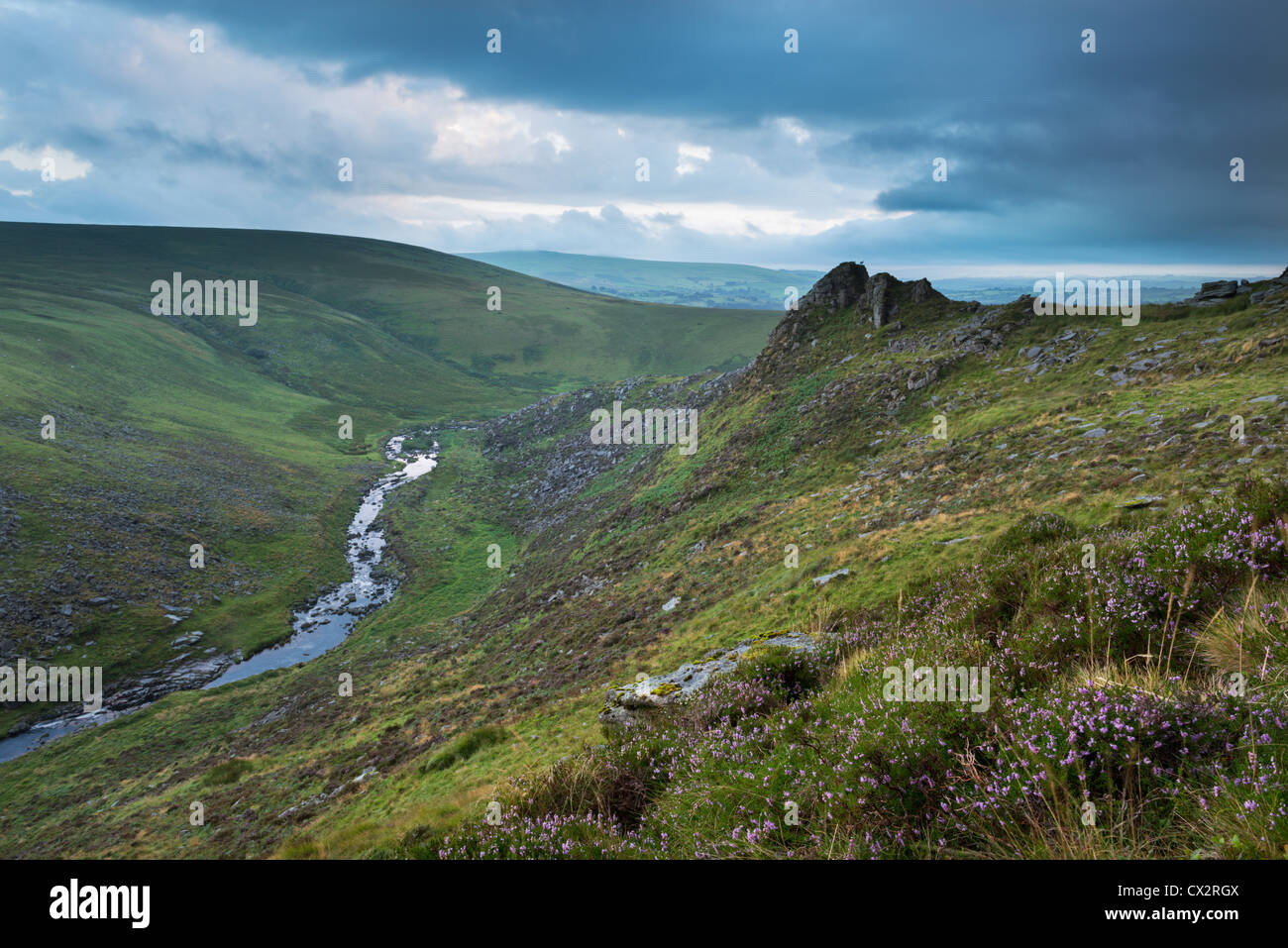 Dramatic scenery at Tavy Cleave, Dartmoor National Park, Devon, England. Summer (August) 2012. - Stock Image