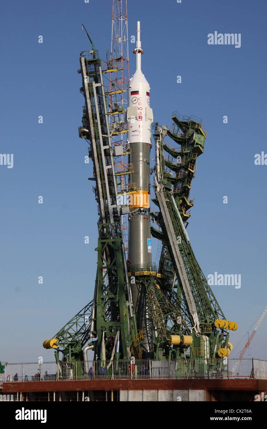 ITAR-TASS: BAIKONUR, KAZAKHSTAN. NOVEMBER 14. 2011. The Soyuz-FG rocket with the Soyuz TMA-22 capsule on the launch - Stock Image