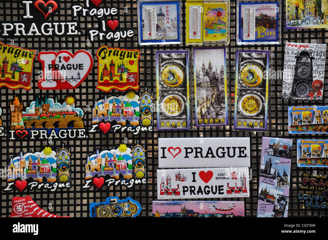 Close Up Of Fridge Magnets And Souvenirs From Prague