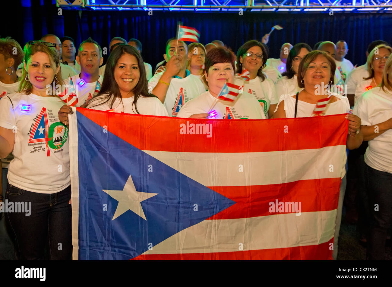 Puerto Rican delegates at the biannual convention of the American Federation of State, County and Municipal Employees - Stock Image