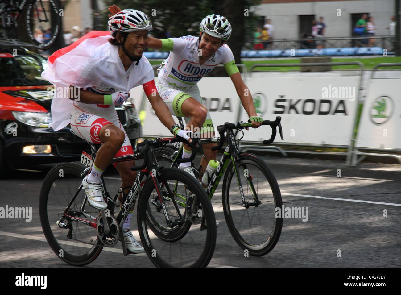 Yukihiro Doi Thierry Hupond Argos-Shimano Vuelta a España Tour of Spain 2012 9/09/2012 Paseo del Prado Madrid - Stock Image