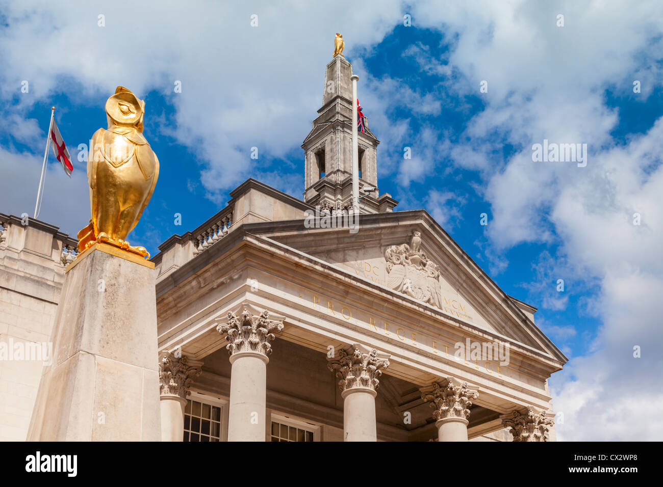 Detail of Leeds Civic Hall, opened in 1933, which stands in Millennium Square - Stock Image