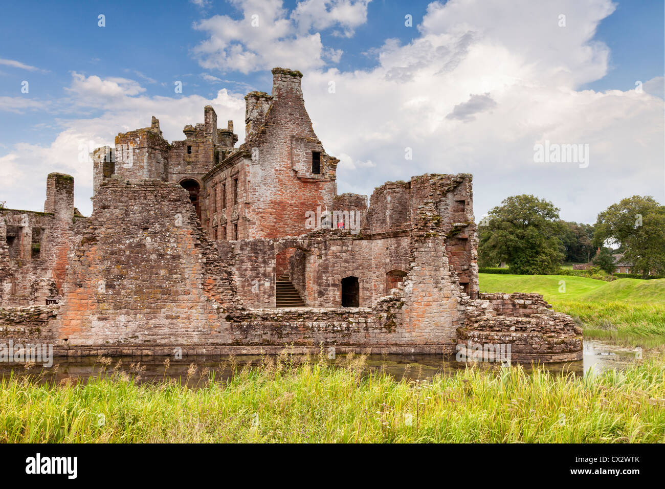 a view of caerlaverock castle clearly showing the house inside the defensive walls a typically scottish castle design