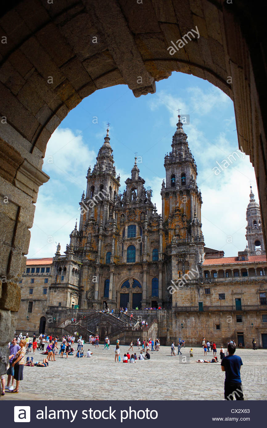 Santiago de Compostela, facade of the cathedral. Galicia, Spain. - Stock Image