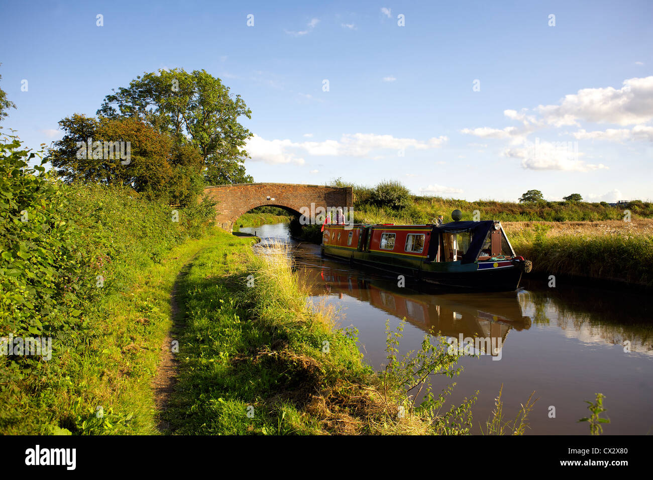 Colourful narrowboat cruising under Bridge 50 on the Coventry Canal, England, UK,  British, inland, waterways, canals, - Stock Image