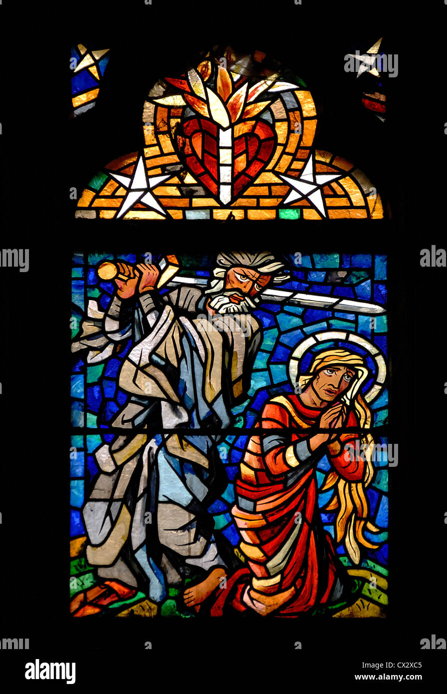 Prague, Czech Republic. St Vitus' Cathedral / Katedrala svateho vita. Stained glass window - Abraham ready to - Stock Image