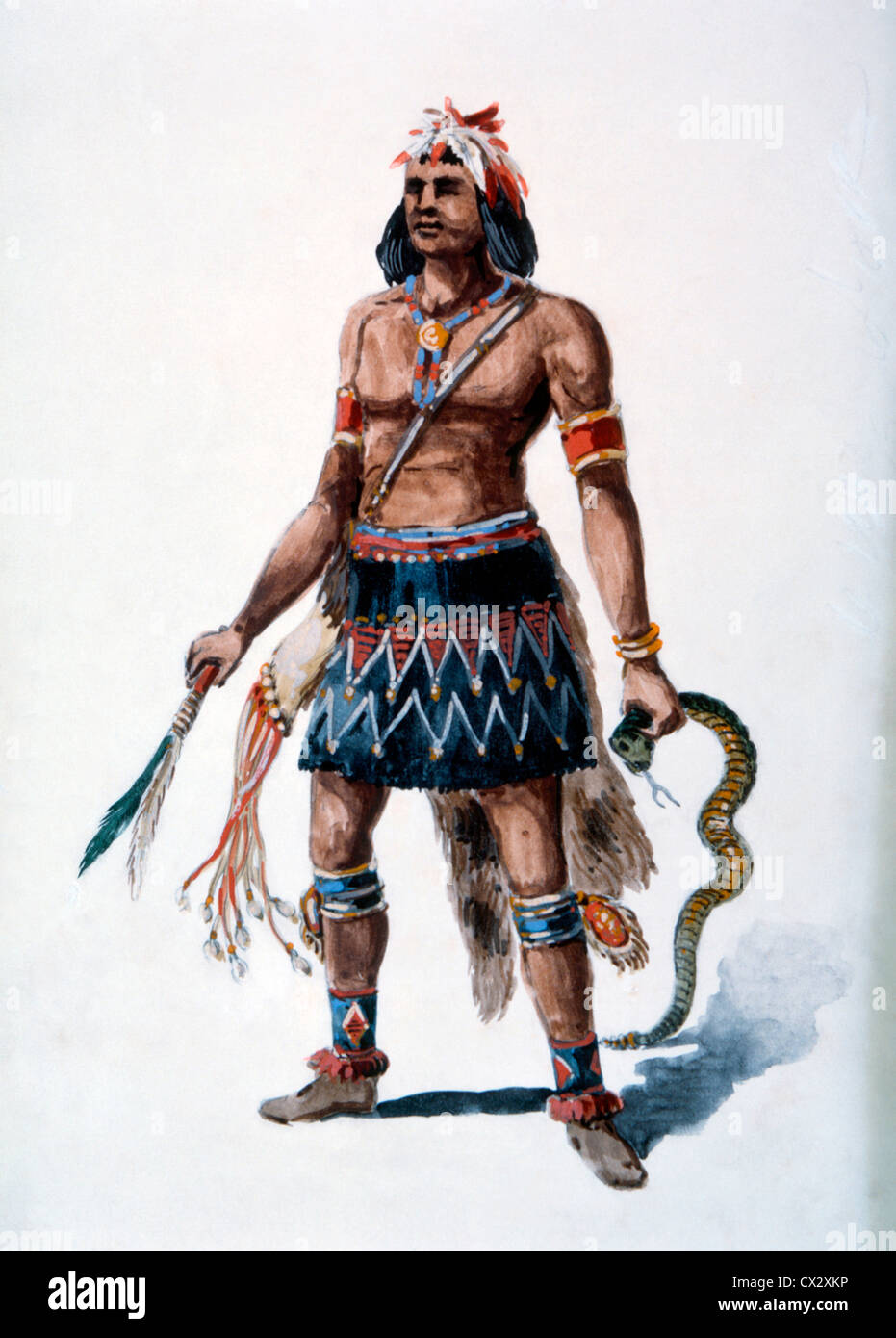 Moqui Warrior, Watercolor Painting by William L. Wells for the Columbian Exposition Pageant, 1892 - Stock Image