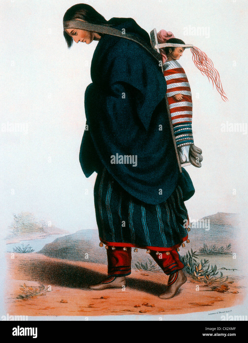 Chippewa Squaw and Child, Lithograph by McKenney and Hill after Painting by James Otto Lewis, Circa 1836 - Stock Image