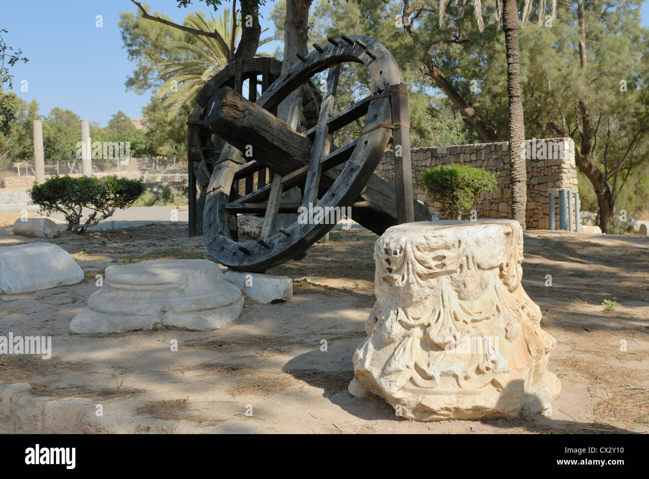 Archaeological finds in the park of the city of Ashqelon, Israel - Stock Image
