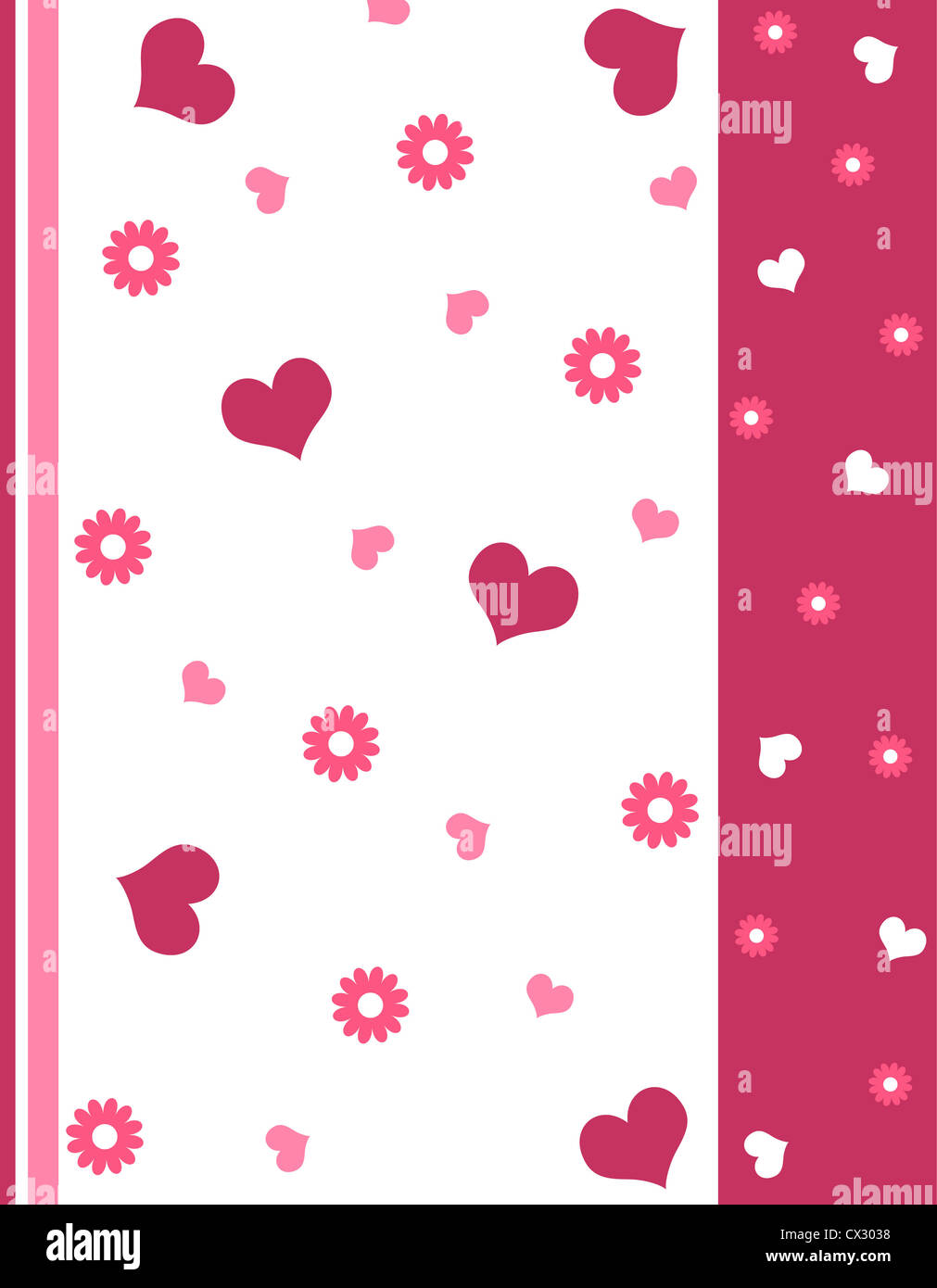 Hearts and floral design in pink Stock Photo