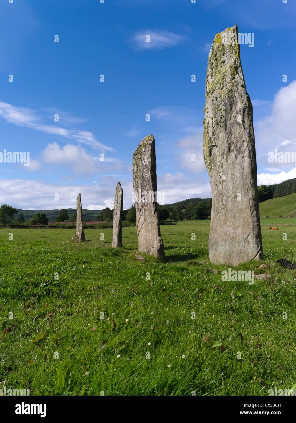 dh Kilmartin Glen KILMARTIN ARGYLL Ballymeanoch standing stones scottish prehistory neolithic stone age - Stock Image