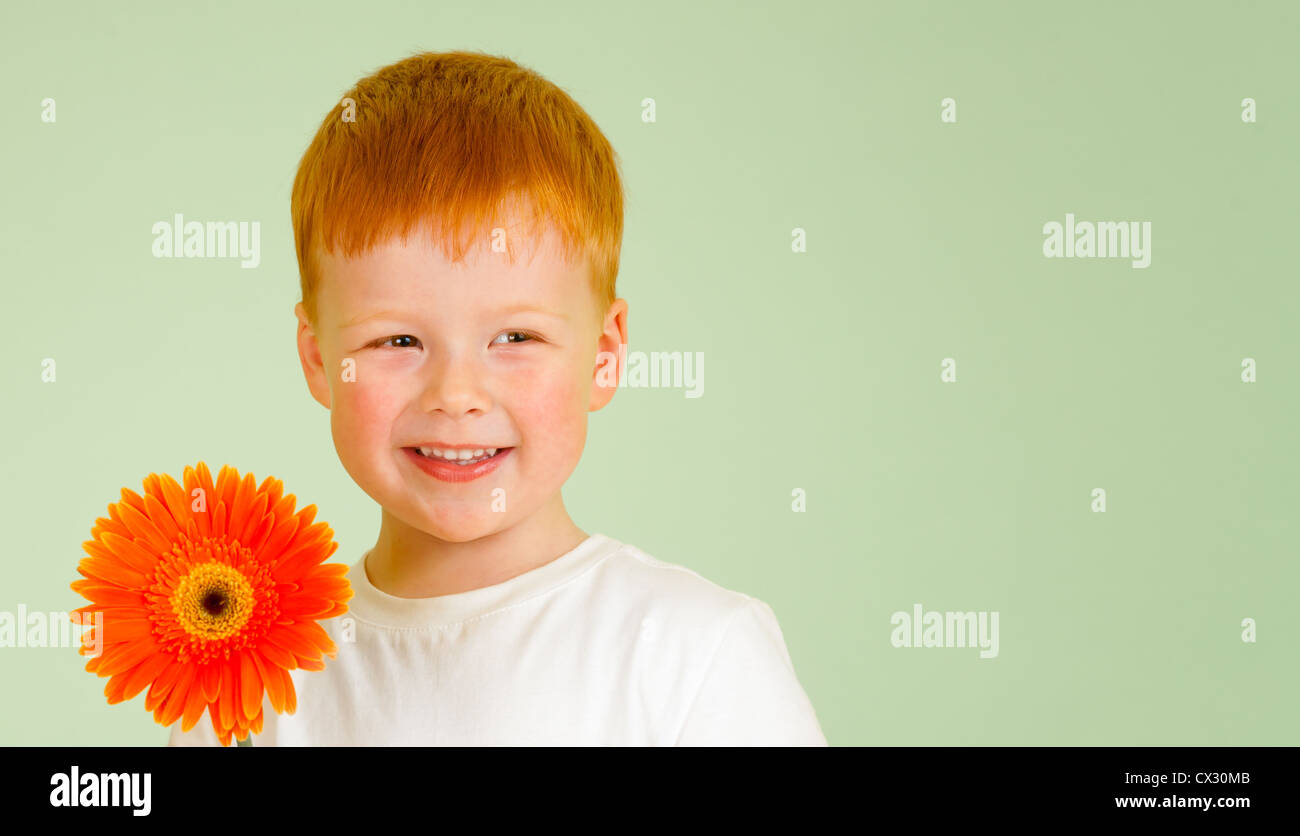 Adorable redheaded boy with orange African daisy on green background - Stock Image