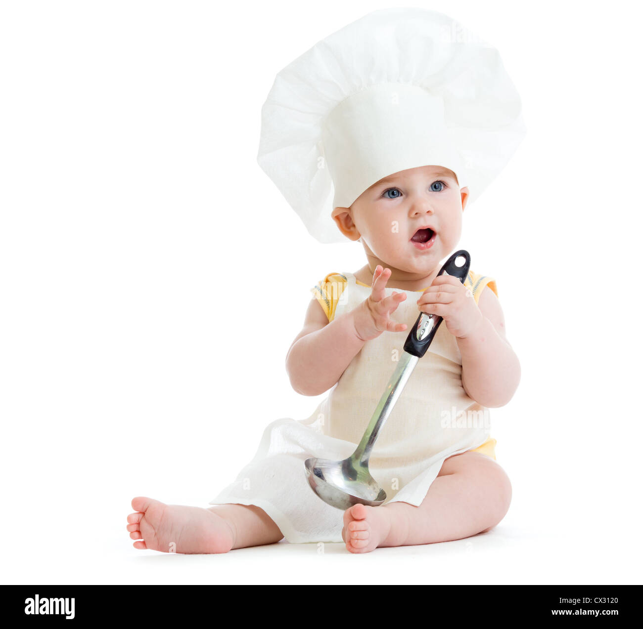 Little boy with metal ladle and cook hat isolated Stock Photo ... 52015d2e6fb2