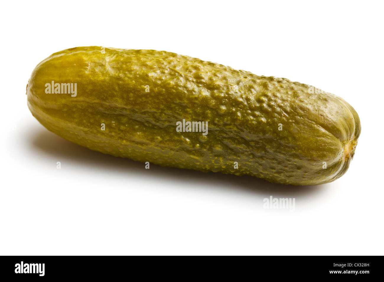 Pickled cucumbers on white background - Stock Image