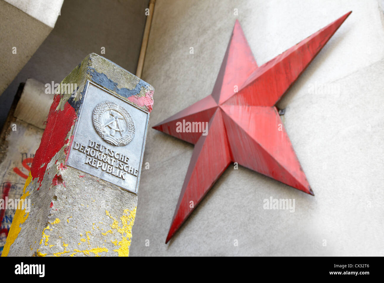 DDR sign and red star in Berlin Stock Photo