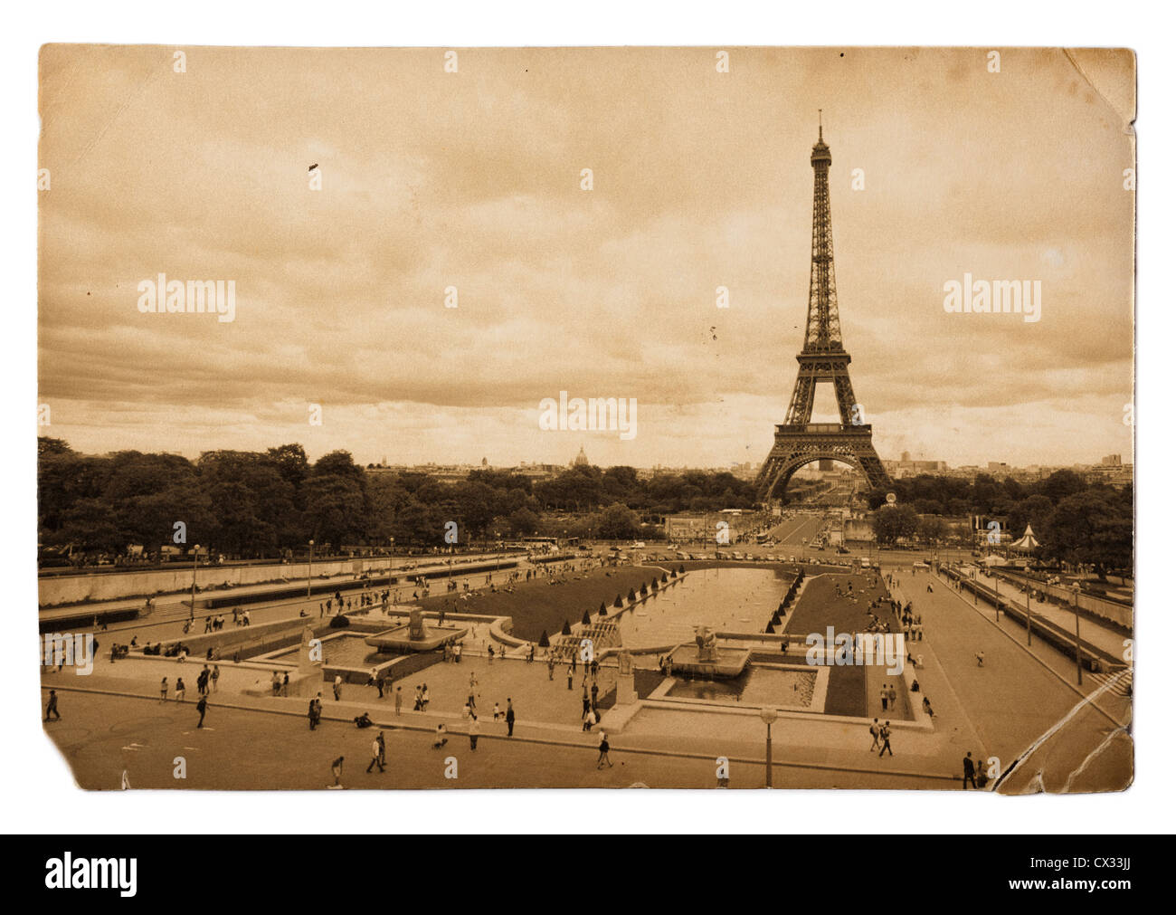 vintage sepia toned postcard of Eiffel tower in Paris - Stock Image