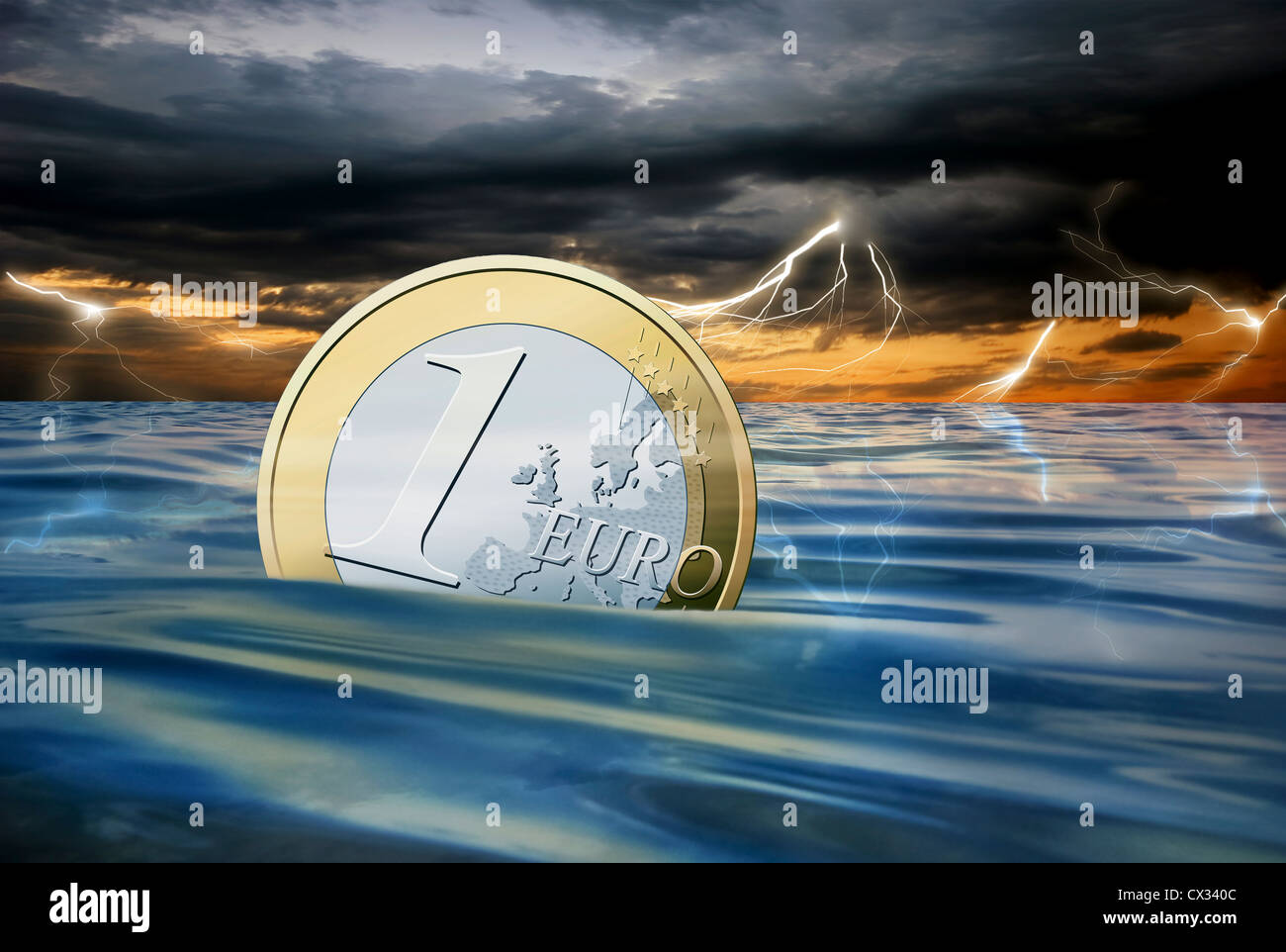 Euro coin drowning in the sea during a thunderstorm - Stock Image
