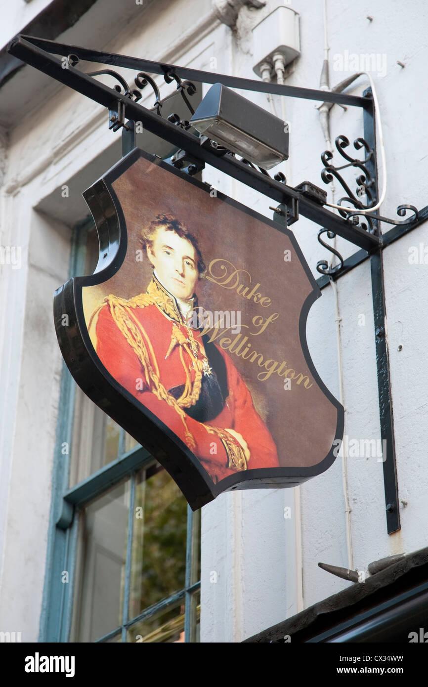 Duke of Wellington Pub Sign, Soho; London, England, UK - Stock Image
