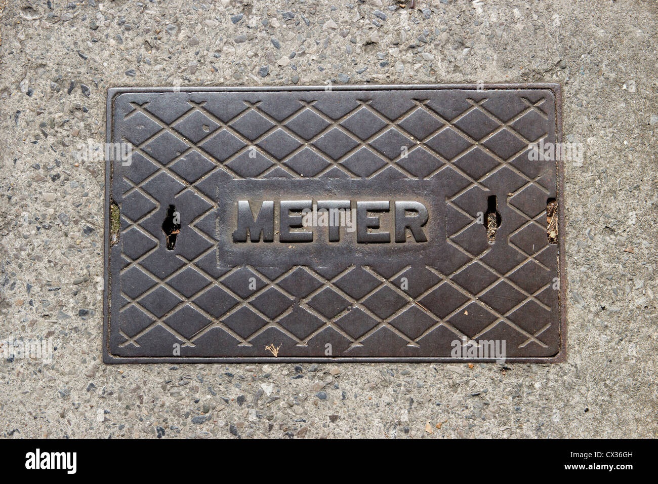 Water Meter Cover Inspection Plate - Stock Image